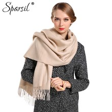 Sparsil Women Autumn Cashmere Blend Tassels Long Scarves fashion Female Winter Soft Skin-Friendly All-Match Scarf(China)