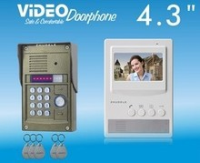 "ZHUDELE New product ,top quality 4.3""color video door phone, CCD camera with ID card or password unlock (1 to 1)(China)"