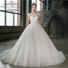 French Romantic Style Cap Sleeve Lace Applique Low Back Princess Wedding Dress