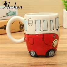 Arshen Originality Ceramic Cups Hand Painting Retro Double Decker Bus Mug Cute Coffee Milk Tea Cups Water Bottle Drinkware Gift(China)