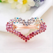 New Style Rhinestone Heart Hair Pins Fashion Wedding Hair Accessories Bridal Hair Jewelry 5 Colors Gold tiara Bridal Headpiece(China)