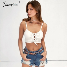 Simplee Lace up bow camisole tank top Sexy hollow out white straps bustier crop top Women casual summer 2017 tube top