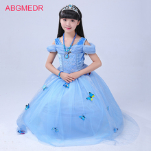 ABGMEDR Brand Cinderella Dresses Children Cinderella Cosplay Costume Kids Party Clothing Girls Cartoon Dresses Snow Queen Wear(China)