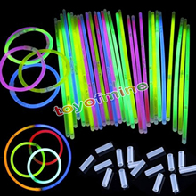 "50Pcs/lot 8"" Mix Glow Stick Light Bracelets Necklace Birthday Festive Party Vocal Concert Olympics Supplies 3-5hours Lighting"