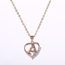 2017 New Designer Hollow Heart Love Jewelry mother baby pendant gold silver chain necklace mothers day gifts for mom collares(China)