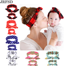 JRFSD 2PC/Set Mom Kid Rabbit Ears Hair Bands Tie Bow Headband Hair Knot Bow Cotton Headbands Hair Accessories For Women H1