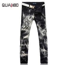 2017 New fashion Men's wolf printed jeans men slim straight Black stretch jeans high quality designer pants nightclubs singers(China)