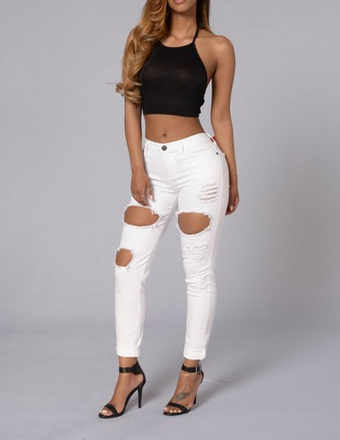 White Ripped Jeans 2017 Hot Summer Women Mid Waist American Apparel Jeans Boyfriend Style Knee Skinny Pencil Ripped Jean FemmeОдежда и ак�е��уары<br><br><br>Aliexpress