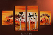 Red Africa Sexy Girl Living Tree Oil Painting On Canvas 4 Panel Arts Set Modern Home Abstract Wall Decor Picture for Living Room
