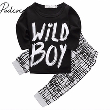 Newborn Infant Baby Boys long sleeve letter cotton Clothes casual Wild Boy T-shirt Top+Pant Legging Outfits Set
