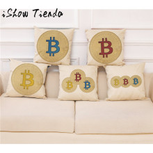 Buy ISHOWTIENDA Linen Pillow Case Home Decor Cushion Cover Bitcoin Decorative Coins Throw Pillowcase Pillow Covers for $2.49 in AliExpress store