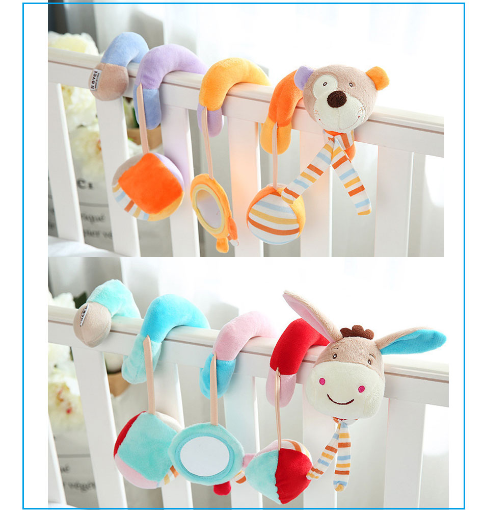 Infant baby toy activity spiral bed stroller bumper with BB device hanging crib rattle kids toys newborn juguete bebe animales 4