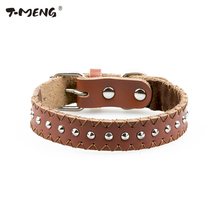 New Fashion Leather Dog Collar Adjustable for Small Puppy Dogs Spiked Rivet Studded Light Brown Pet Necklace With Hand Stitching