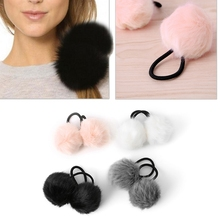 2X Faux Rabbit Fur Pompom Ball Hair Scrunchie Elastic Ponytail Holder Hair Band Hair Accessories 2017(China)