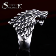 steel soldier Stainless Steel Game of Thrones style ice wolf House Stark of Winterfell Biker ring Fashion unique Jewelry
