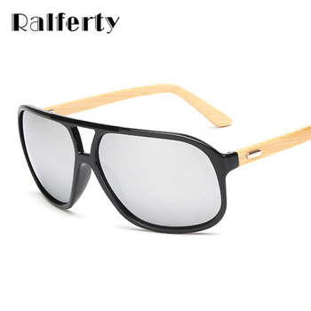 Ralferty Mens Óculos De Sol de Marca Designer de Óculos De Sol de Bambu de Madeira Do Vintage Para Homens Oversized Óculos Espelhados Esporte lunette Shades
