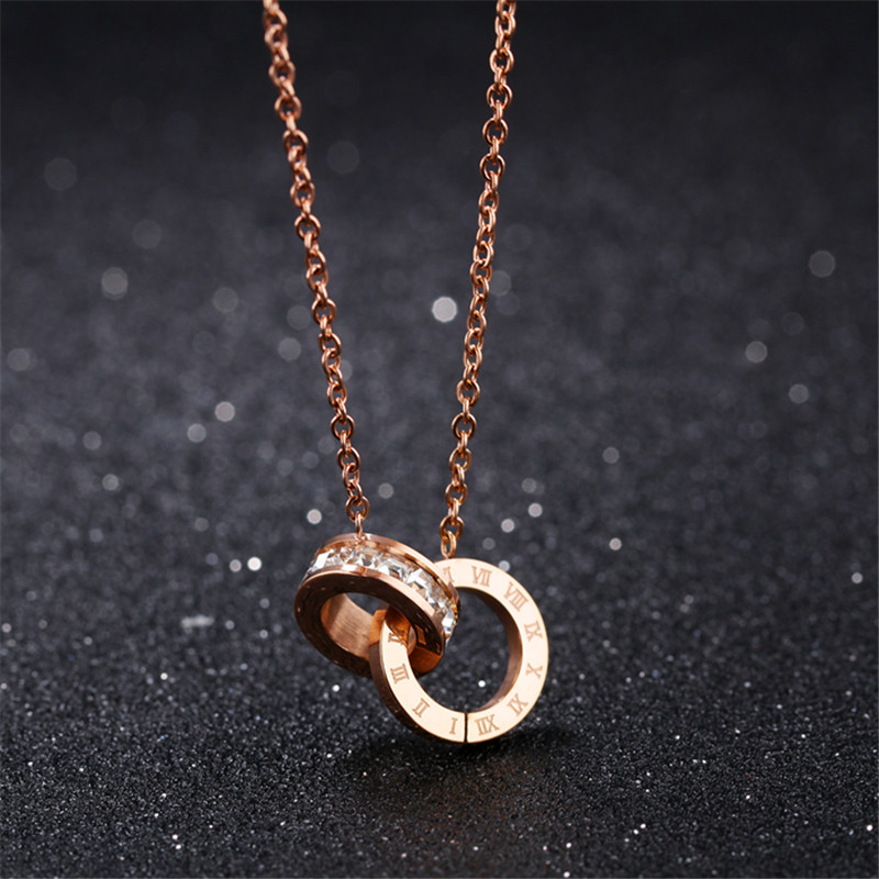 Rose Gold Rome Round Pendant 925 Silver Necklace Chain Jewellery Womens Gifts