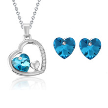 Jewelry Sets wholesale New 2014 Fashion jewelry Austria Crystal Heart Shape Pendants & Necklaces Earrings Jewelry Sets Silver