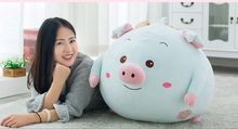 huge plush cartoon pig toy blue soft round pig pillow doll gift about 55x50cm