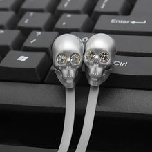 Skull Earphones headphone with Microphone rock zircon noodles earpods For PC iphone 6 Xiaomi MP3/4 3.5mm Universal Stereo Earbud(China)