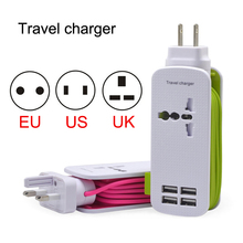 Universal 4 Way Multi USB + 1 jack AC 110-240V  50/60HZ  500W charger hub desktop stand wall power adapter us/eu/uk