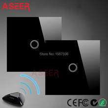 ASEER,EU Standard 1gangs 2way Intermediate switches ,mobile Remote light lamps wall Switch via Broadlink rm pro,Crystal Glass