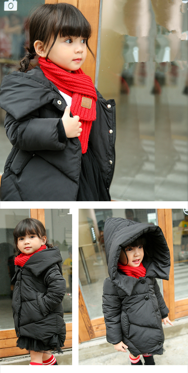 2017 New Fashion Girls Winter Warm Coat Kids Jacket Hooded Snow Wear Cotton Down Outerwear Girl Solid Color Winter Clothes