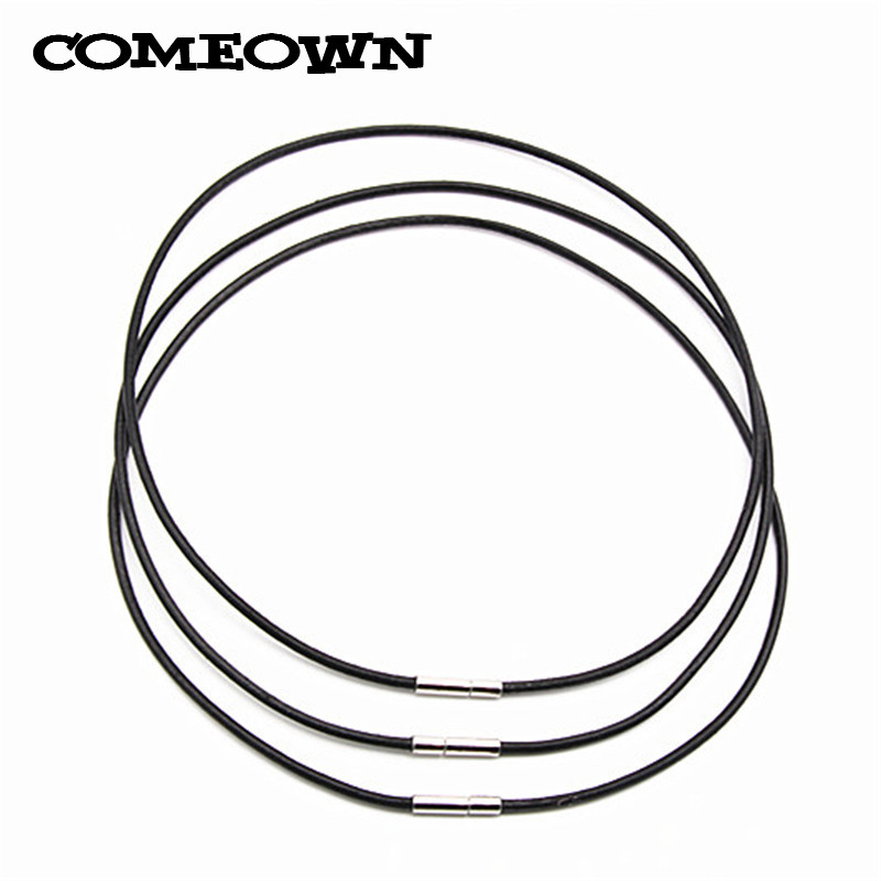 "2mm 18/"" Black Genuine Leather Cord Necklace for Jewelry Making DIY Choker"