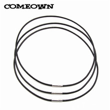 "COMEOWN 10Pcs/lot Black 2mm 12""-30"" Genuine Real Leather Cord Necklace Pendant Making+Silver Steel Bayonet Clasp DIY Jewelry(China)"