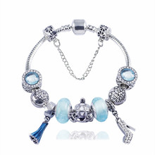 European Bracelets Glass Crystal Charms Beads Fits European Bracelets & Bangles Cart Dress Loveheart Exquisite Beads Bracelets(China)