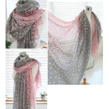 1 HOT Women Lady Winter Autumn Warm Soft Long Pink Grey Dots Voile Neck Large Scarf Wrap Shawl Stole Scarve Pashmina Xmas Gift