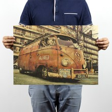 Wall Decals Vinilos Stickers Vintage Signs Vw Bus Retro Painting Car Plate Bar Antique Wall Decoration Posters 51x35.5cm