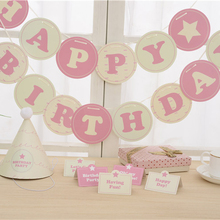New 7pcs/lot birthday hat + table place cards + banner garland pink / blue set birthday party decorations kids party supplies