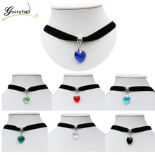 1PCS Love Heart Glass Pendant Woman Girl Jewelry Fashion Necklaces Gothic Terylene Choker Necklace Seven Colors(China)