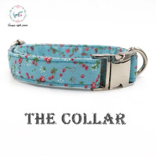The bule  dog  collar cotton  dog &cat necklace Personalized with  Webbing Colors to Choose  for pet