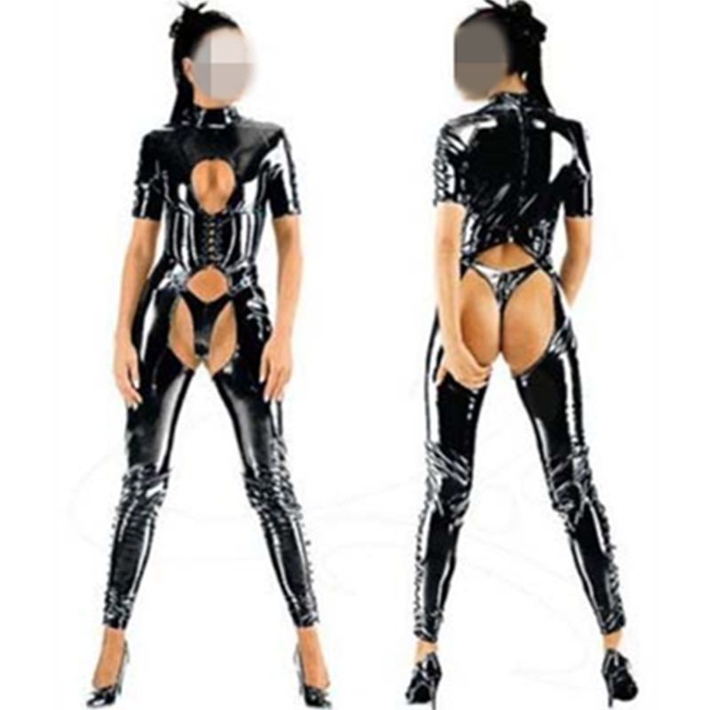 New Women Short Sleeve Open Front Role Jumpsuit Sexy Latex Wet Look PVC Bodysuit Teddy Erotic Clubwear Goth Punk Leather Catsuit