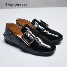 Tree Wrasse Black girls shoes girls shallow mouth shoes red soft bottom leather shoes 2017 summer new(China)
