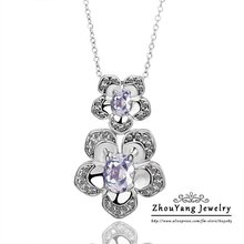 ZHOUYANG N388 Clear Flower Necklace Rose Gold Color Fashion Jewelry Nickel Free Pendant Austria Crystal(China)