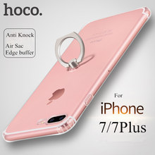Original HOCO Clear TPU For iPhone 7 Ring Case Camera Protection with Air Sac Edge Buffer Cover for IPhone 7 7Plus Holder