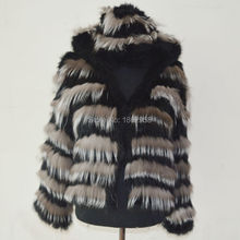 SJ486-01 Haining Popular Hooded Rabbit Knit with Silver Fox Fur Bulk Woman Fur Jacket