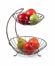 2017 New Home Decor 2 Tiers Stainless Steel Fruit Basket Rack Tray Fashion Style Kitchen Vegetable Storage Bowl Lemon Holder(China)
