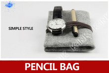 Minimalist Wool Felt Pencil Bag / Glass Pocket, Vintage Simple Style Grey Plush Pencil Bag for Office and School(China)