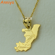 Anniyo (Brazzaville) The republic of congo republique map pendant necklaces afrika women girl gold color jewelry africa(China)