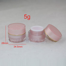 5g X 20  pink color  double wall cream  Plastic Makeup jar container ,Empty Cosmetic jar bottles ,acrylic jar 5g for cosmetics