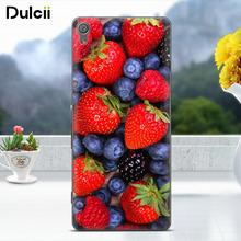 DULCII Gel for Sony Xperia XA1 5.0'' Soft Case Embossed TPU Mobile Cell Phone Cover for SonyXA1 Fruit Strawberry Blueberry(China)
