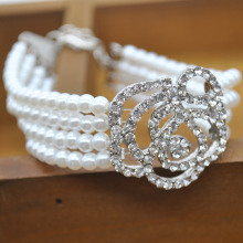 New Arrive Fashion Jewelry Bling Bling Pearl Rose Flowers Imitation Diamond Bracelets Bangle for women Lady JL*SS0201W*60