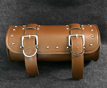 Universal New Brown Motorcycle Motorbike Leather Saddle Bags Roller Side Bags MB