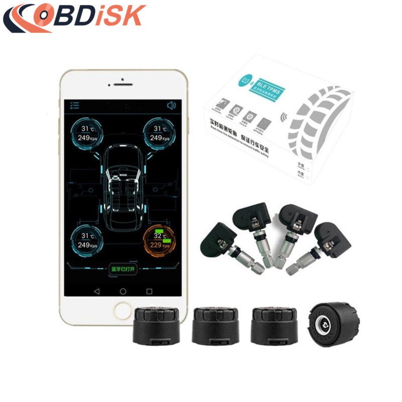 Smart Car TPMS Bluetooth 4.0 Tyre Tire Pressure Monitoring System APP Display 4 Internal/External Sensors Support Android IOS<br>
