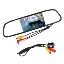 "Auto Waterproof Car Rear View Reverse Backup Camera with 4.3"" TFT LCD Car Mirror Monitor Parking Assistance System(China)"