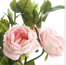 10pcs high-end Simulation flowers 3 heads 70cm cabbage roses artifical flowers home wedding decoration(China)
